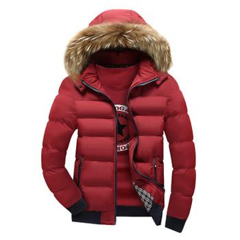 Красиво зимно яке за мъже с качулка и пух в няколко разцветки